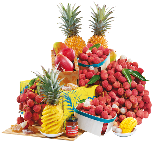 Colis composé des meilleurs fruits de La Réunoin (letchis, mangues, ananas victoria